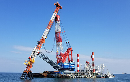 Cranes for piling into the seabed